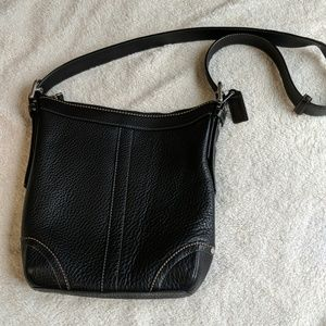 Coach Black Pebbled Leather Shoulder Crossbody Bag